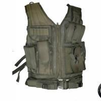 DMoniac Veste tactique Olive 8 poches holster + ceinturon