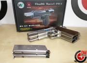 WE Dueller 1911 Double Canon Silver GAZ Blowback 0.9J